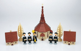 5 Kurrendefiguren mit Seiffener Dorf natur